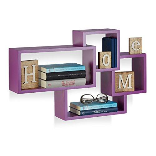 Relaxdays 10021900_131 cubi da parete, mensole cube, design moderno, 4 scomparti, legno mdf, hxlxp: 42x69x12 cm, viola