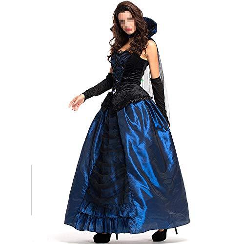 Gothic Enchantress Kostüm - YyiHan Halloween Kostüm, Outfit Für Halloween Fasching Karneval Halloween Cosplay Horror Kostüm,blaues Enchantress Court-Kleid, Vampiranzug Mit Queens Earl-Kleid