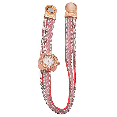 STRIPES EID special Round Dial Watch Pink Colour with Magnet Lock Strap