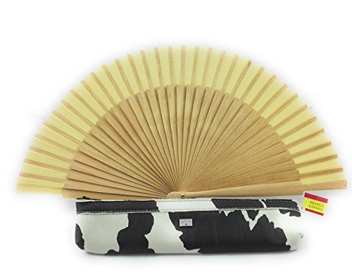 Zerimar Fundas fabricadas en piel para abanicos u otros usos Incluye bonito abanico Color de funda blanco negro.