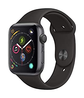 Apple Watch Series 4 (GPS) 44 mm Aluminiumgehäuse, Space Grau, mit Sportarmband, Schwarz (B07HBDSPST) | Amazon Products