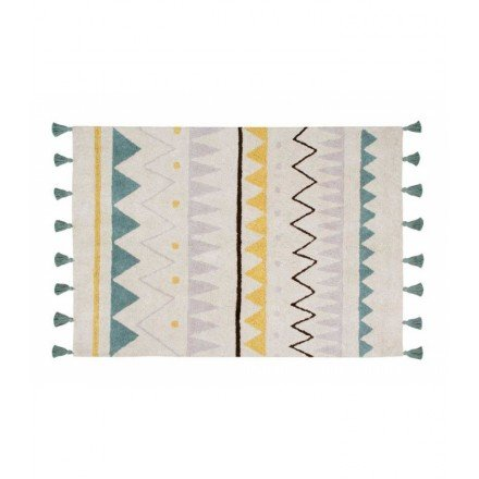 Lorena Canals - Alfombra Natural Azteca Grande, Lavable, de algodón, Color Azul...