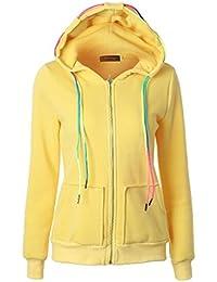 ec12964436a8 BESTHOO Hoodie Sweatjacken Damen Mantel Jacke Outwear Uebergangsjacke Parka  Zipper Hoodie mit Kordelzug Grosse…