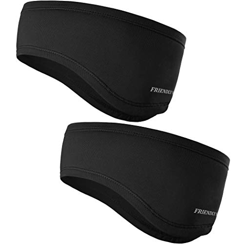 The Friendly Swede Stirnband 2-er Set - Kopfband, Headband für optimalen Ohrenschutz beim Jogging, Laufen, Wandern, Fahrrad- und Motorrad Fahren - Stirnbänder für Damen und Herren (Standard Schwarz)