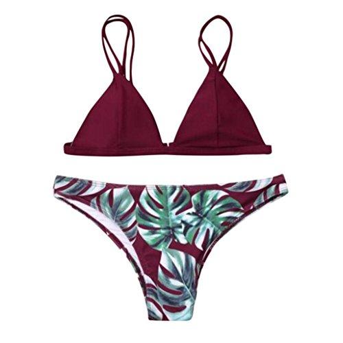OverDose Frauen Bademode Bikini Set Print Blätter Push-Up Bikinis Gepolsterte Bade Badeanzug Beachwear(Wine,M)