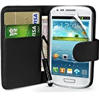 Samsung Galaxy S3 Mini i8190 Black Premium Book Side Wallet Folio High Quality Pu Leather Flip Case Cover Plus Mini Stylus Pen, Screen Protector & Screen Polishing Cloth