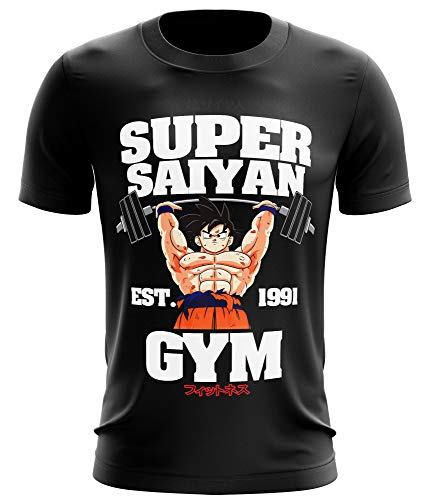 Stylotex Fitness T-Shirt Herren Sport Shirt Super Saiyan Gym est. 1991 Gym Tshirts für Performance beim Training | Männer Kurzarm | Funktionelle Sport Bekleidung, Größe:XXL, Farbe:schwarz (Dragon Shirts Von Z Fitness Ball)