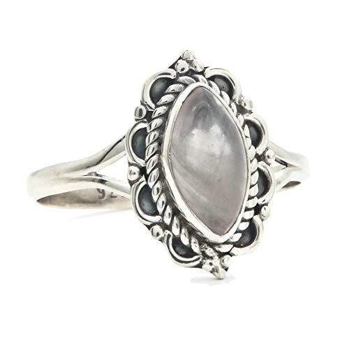 Ring Silber 925 Sterlingsilber Rosenquarz rosa Stein (MRI 152), Ringgröße:50 mm/Ø 15.9 mm - Antik-ring-set