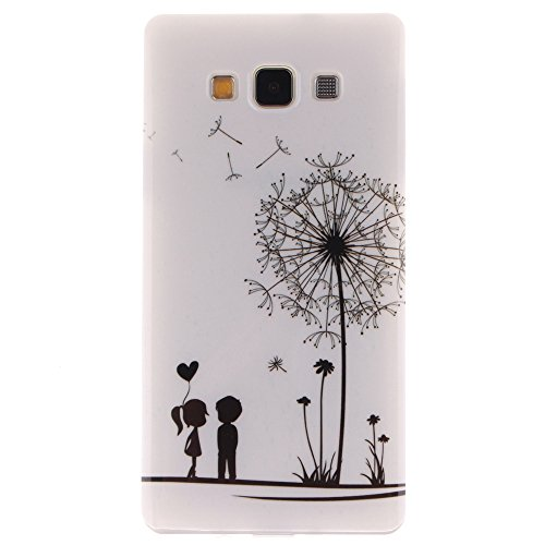 Samsung Galaxy A7 hülle MCHSHOP Ultra Slim Skin Gel TPU hülle weiche Silicone Silikon Schutzhülle Case für Samsung Galaxy A7 - 1 Kostenlose Stylus (Löwenzahn sich verlieben (Dandelions Fall in Love)) Löwenzahn sich verlieben (Dandelions Fall in Love)