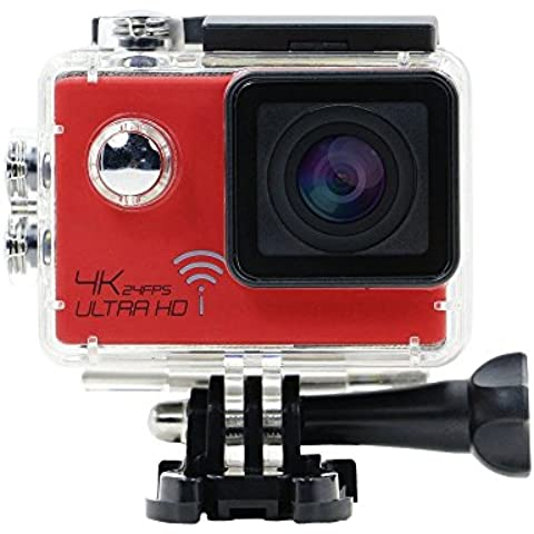 Action Camera, huiheng 170obiettivo ultragrandangolare WiFi impermeabile sport fotocamera 1080p 2.0LCD 4K 24fps Wifi Diving Sport Action Camera SJ9000DVR Video Camcorder, Rosso