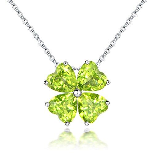 JiangXin Herz 925 Sterling Silber Anhänger 45cm Kette Halskette Damen Talisman Glücksbringer Lucky clover Natürliche Grün Peridot Olivin