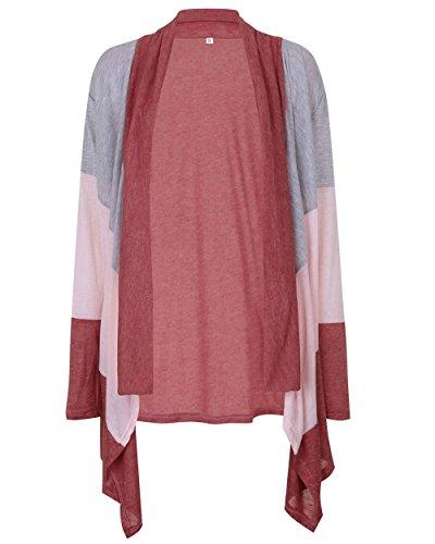 CoCo Fashion Damen Irregular Cardigan Strickjacke Lose Kimono Strickmantel Spleißen Langarmshirt Top Outwear Braun