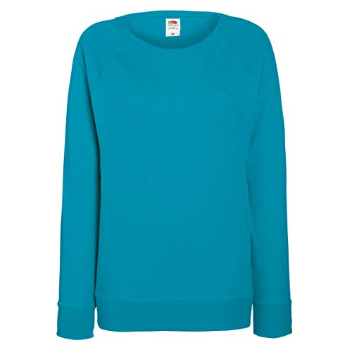 Fruit OF The Loom Damen Raglan Sweatshirt M,Azurblau (Raglan-Ärmel-print)
