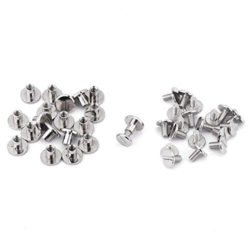 GLOGLOW 20Pcs/Set Flat Head Nieten, Durable Messing Gewinde Mutter Nagel Nieten Schrauben Anti-Rost-Craft Repair Supplies Classic Silver(6.5mm) -