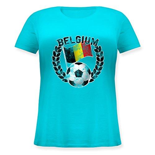 EM 2016 - Frankreich - Belgium Flagge & Fußball Vintage - Lockeres Damen-Shirt in großen Größen mit Rundhalsausschnitt Türkis