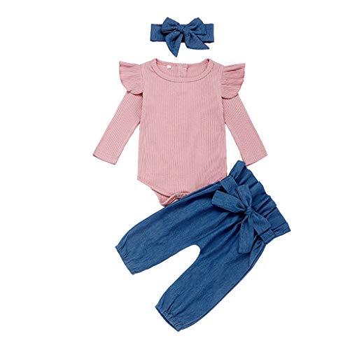 Neugeborenes Baby Mädchen Langarm Solid Rib Romper Bow Hosen Stirnbänder Outfits Set (Leder Jacke Teddy Bär)