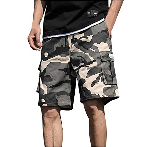 Strungten Herren Shorts Camouflage Kurze Hose Herren Cargo Shorts Bermuda Short Herren Sweatshort Sportshorts Freizeit Laufen Regular Fit Short Camo Slim Fit Lose Drawstring Beach Shorts -