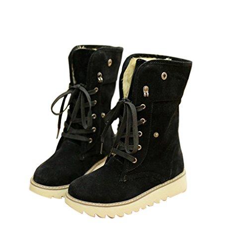 Minetom Femme Hiver Chaudes Bottes De Neige Fourrées Cheville Matte En Daim Chaussures Snow Boot Noir