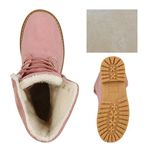 Damen Schuhe Worker Boots Warm gefüttert mit Blockabsatz Flandell Rosa