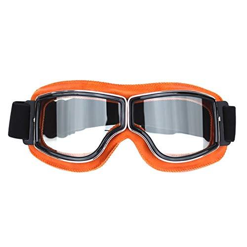Adisaer Sonnenbrille Polarisiert Retro Helm Schutzbrillen Lokomotive Offroad Motorrad Schutzbrillen Retro Schutzbrillen Gläser Reiten Yellow Transparent Damen Herren