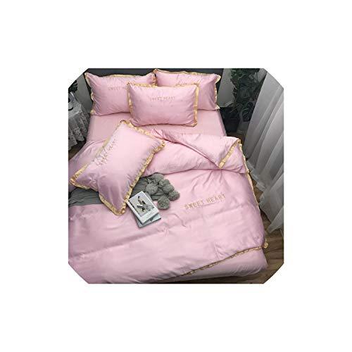 Black-Sky Home Textile Bettwäsche-Sets Adult Bettwäsche Bett Weiß Schwarz Bettbezug König Queen Size Bettbezug Brief Bettwäsche Tröster, Rosa, Hafenpersenning 150by200, Spannbettuch