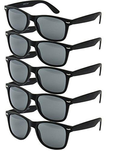 Ciffre 5 er Set EL-Sunprotect® Sonnenbrille Nerdbrille Brille Nerd Matt Gummiert Schwarz