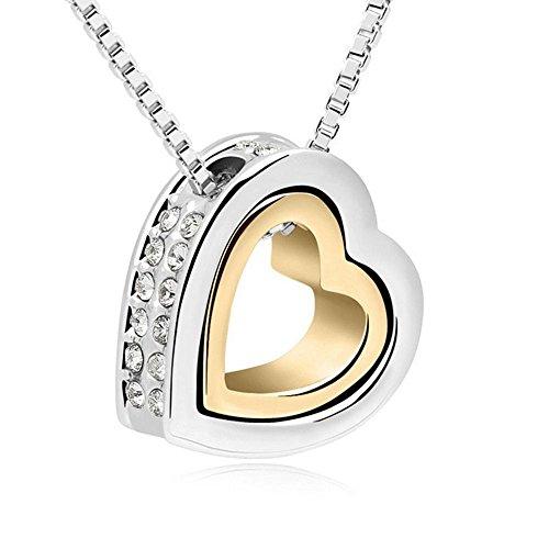 Bungsa Damenkette 45cm Silber Gold Halskette Herz mit Gravur Love You Forever - Zweifarbiger Offener herzförmiger Anhänger mit klarem Strass Besetzt - Kette Frauen Liebe - Heart Necklace Love (Figur Trägt Glas)