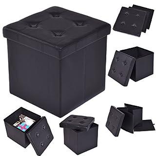 FDS COSTWAY Sitzhocker faltbar Sitzbox Aufbewahrungsbox Sitzwürfel Hocker Truhe Kunstleder Farbwahl 38 * 38 * 38cm (Schwarz)