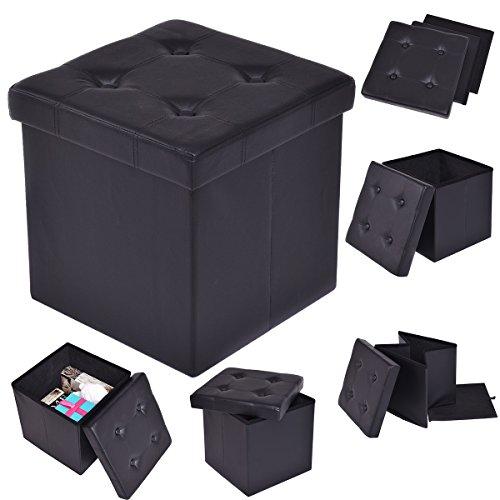 Sitzbox SitzhockerSitzwürfel Cube Sitzkasten Sitztruhe Aufbewahrungsbox Leder Truhe Klapphocker Ottomane Faltbar (Schwarz)