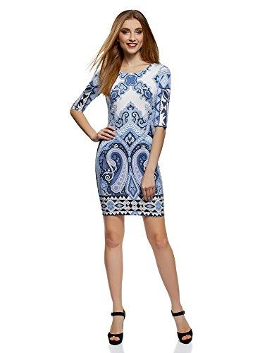 oodji Ultra Damen Enges Jersey-Kleid, Blau, DE 36 / EU 38 / S