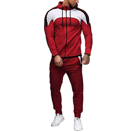 CICIYONER Hot!!! Trainingsanzug Herren Jogginganzug Sportanzug Sommer Camouflage Sweatshirt Zipper Tops Hose Sets Tanktop Hoodie +Shorts (L, Rot-neu)