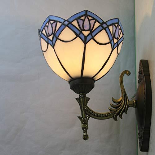 LYEJFF Tiffany-Art-Wand-Lampe, 8-Zoll-Retro kreative Wand-Licht-Lampe Fixture mit Buntglas Shade Wandleuchte für Nacht, Flur, Treppennachttischlampe, E27 - Tiffany Wand Lampe