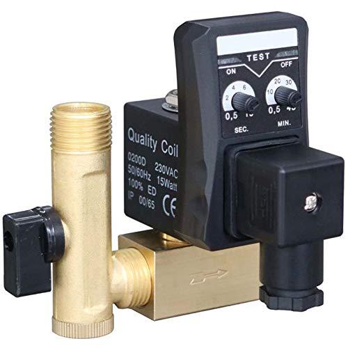SODIAL 1/2 Zoll Dn15 Elektrische Timer Auto Wasser Ventil Magnet Elektronisches Ablass Ventil für Luft Kompressor Kondensat (Elektronische Luftkompressor)