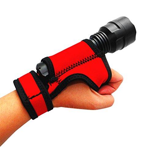 Rote Outdoor Mount (FLAMEER Neopren Outdoor Scuba Diving Torch Taschenlampe Halter Weiche Hand/Armhalterung - Rot)