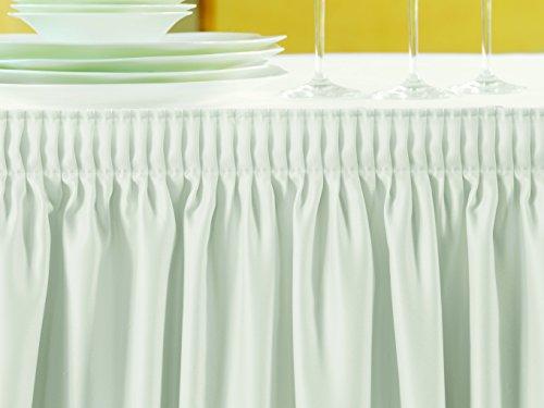 Gastro Uzal Skirting mit Plisséfalte, Weiß | 5,80 x 0,73 m Skirtings für Tische, Büffet Skirting Tablerock