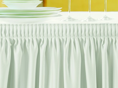 Gastro Uzal Skirting weiß/Plisseefalte: 410 x 73 cm Skirtings, Tischrock Tablerock