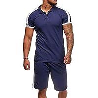 Comaba Mens T-Shirt Top Short Sleeve Set Athletic-Fit Jumpsuit Romper Navy Blue XL