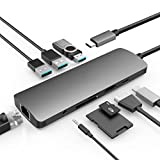 USB C Hub, 9 in 1 USB Type C Hub Adapter with Charging