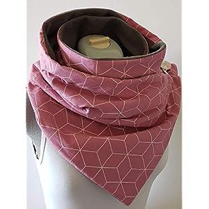 XXL großer Wickelschal Geometrisch altrosa/grau Knopfschal handmade
