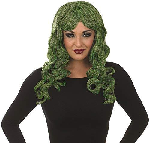 (Damen Lang Grün Lockig Verführerin Halloween Perücke Kostüm Verkleidung Zubehör - Grün, One size)