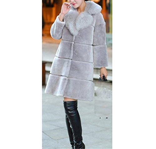 Huaishu Mesdames Femmes Épais Manteau Long Fluffy Manteau en Fausse Fourrure À Manches Longues Manteau Veste Manteau d'hiver Pardessus