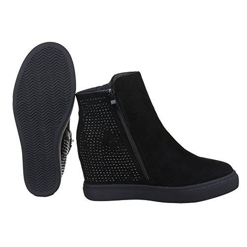 Damen Schuhe, S4833, STIEFELETTEN STRESS BESETZTE KEIL BOOTS Schwarz