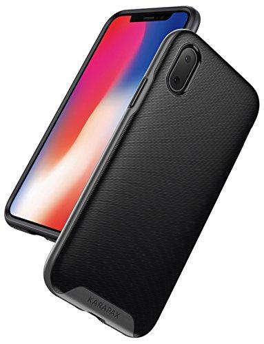 iPhone X Hülle, [Unterstützt kabelloses Laden (Qi)] Anker KARAPAX Breeze Case iPhone Hülle für iPhone X Edition, Militärisch Starke Schutzhülle mit 3D Textur - Gunmetal Handyschutzhülle (Schwarz)