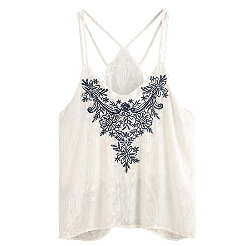 Damen Weste, Btruely Trägershirts Flower Bestickte Cami Top Bluse tops (S, Weiß) (Cami Paisley)