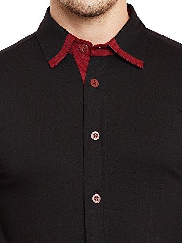 GRITSTONES Black-Maroon Full Sleeves Shirt GSFSSHRT1462BLKMRN_M