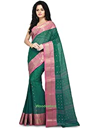 WoodenTant Women's Cotton Tant Handloom Saree (WCS55, Green, Free Size)