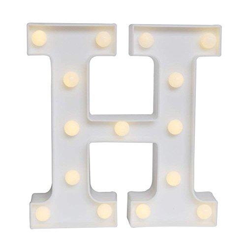 KAIMENG LED Deko Buchstaben Alphabet weiß batteriebetrieben für Dekoration Haus Hochzeit Party Rezeption Bar Modern H