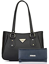 Fostelo Women's Combo Handbag & Clutch (Black & Blue) (FSB-1186-FC-34)