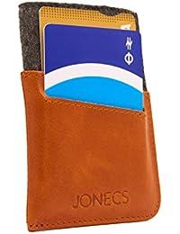Jonecs tarjetero con protección RFID (Unisex) - Manufacturado con cuero de alta calidad - Tarjetero super estrecho con capacidad para 15 tarjetas.