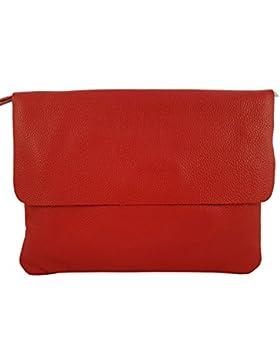 Elegante Große Damen Clutch Echtleder Tasche Abendtasche Metallic (Rot)